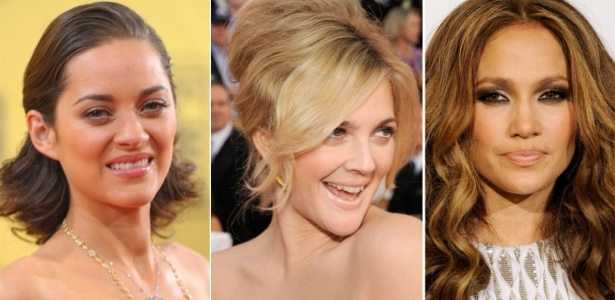 Marion Cotillard, Drew Barrymore e Jennifer Lopez exibem cabelos e maquiagens em tapetes vermelhos