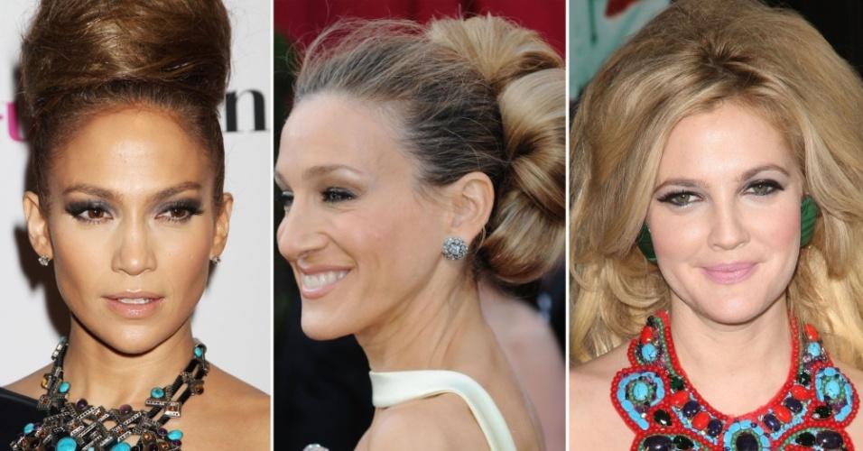 Jennifer Lopez, Sarah Jessica Parker e Drew Barrymore usam apliques de cabelos em penteados