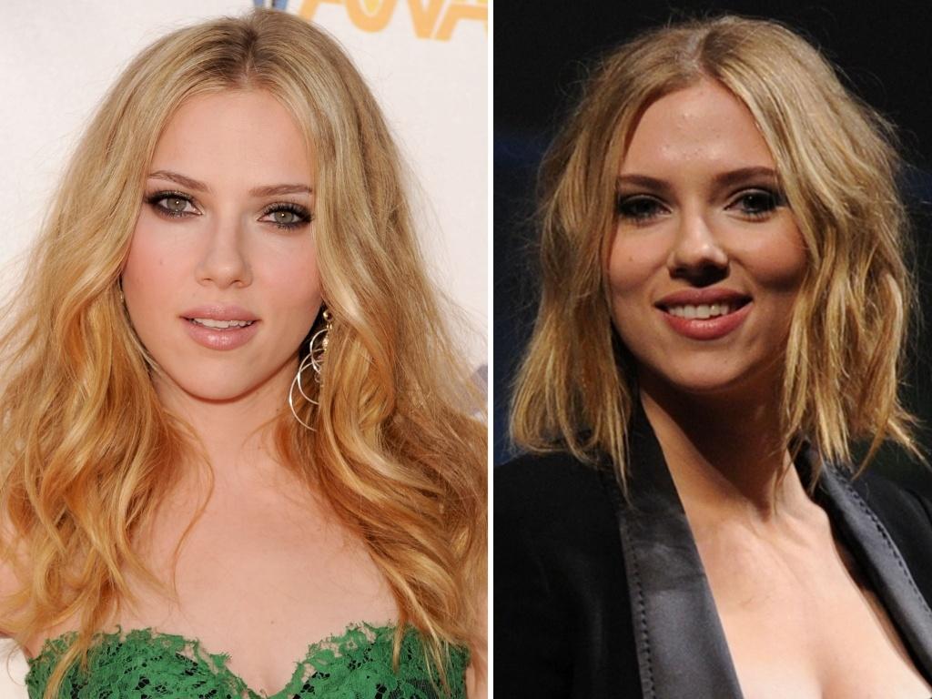 Antes e depois dos cabelos de Scarlett Johansson (julho/2010)