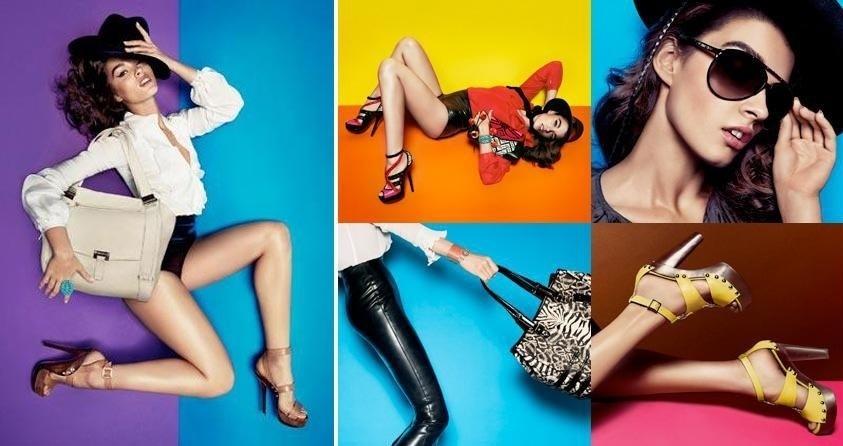 Janeiro 2011: A top Crystal Renn exibe suas curvas na campanha multicolorida da marca de sapatos e acessórios Jimmy Choo. As fotos são da dupla Inez van Lamsweerde e Vinoodh Matadin