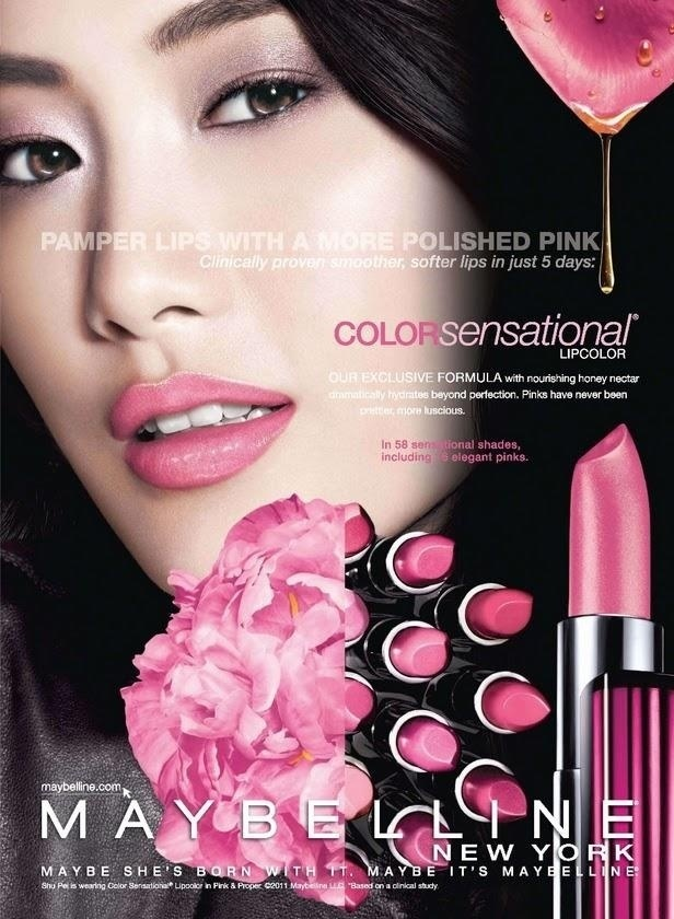 Janeiro 2011: A modelo chinesa Shu Pei foi escalada pela Maybelline para a campanha do batom Color Sensational, que tem 58 cores, sendo 16 tons de rosas