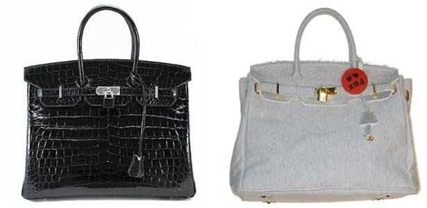 À esquerda, bolsa Birkin no modelo original da Hermès e, à direita, o modelo de moleton da 284