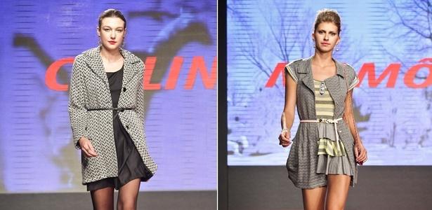Looks da Collins (esq.) e Mamô Brasil para o Inverno 2011 desfilados no Mega Polo Moda