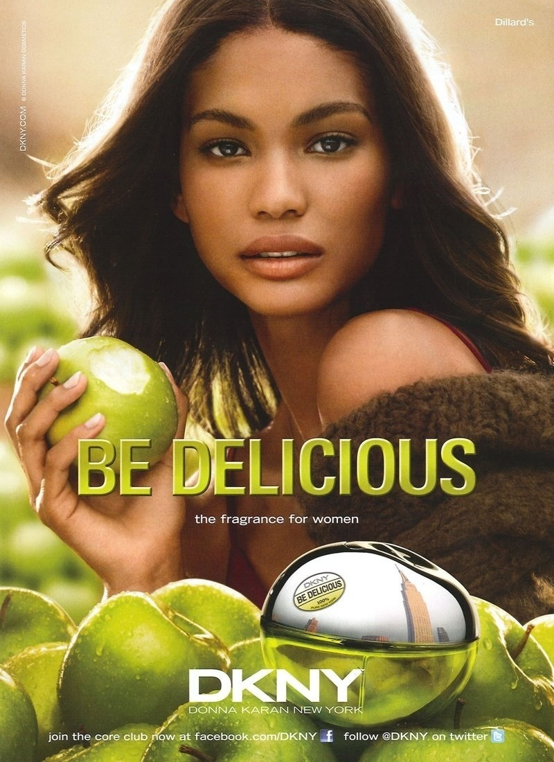 Maro: A top Chanel Iman  o novo rosto do perfume DKNY Be Delicious. At a ltima temporada, a fragrncia era representada pela top holandesa Lara Stone