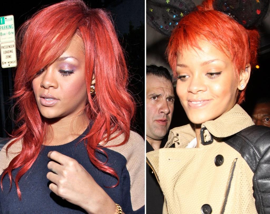Abril: Depois de um período com as madeixas longas - lisas ou crespas - a cantora Rihanna surgiu com os cabelos bem curtinhos e repicados. O tom do vermelho também mudou e agora está um pouco mais aberto, puxando para o tom de laranja