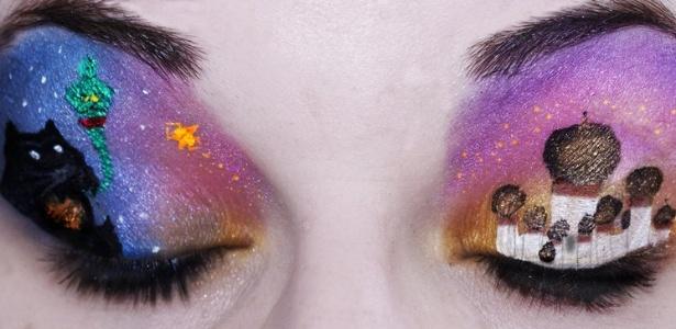 """Maquiagem inspirada em """"Aladim"""" criada pela artista canadense Katie Alves"""
