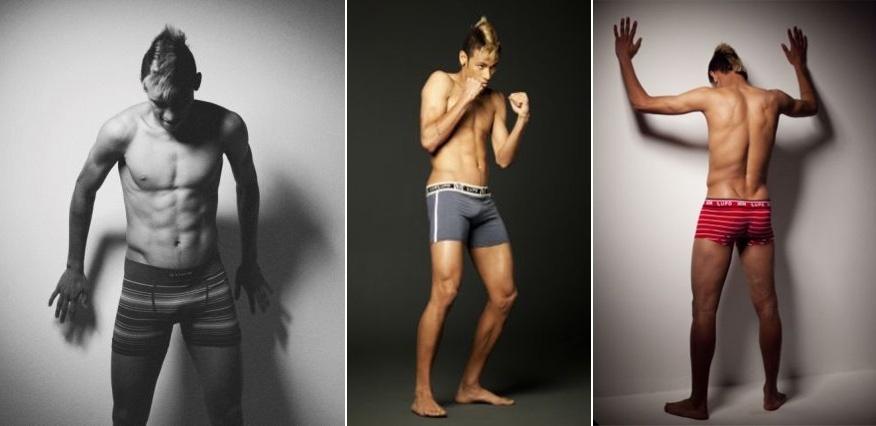 Novembro: Neymar atacou de modelo para a campanha 2012 da marca de cuecas Lupo. Nas fotos do making of, o ídolo do Santos faz poses e mostra seu corpo bem definido