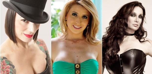 """Da esquerda para a direita, a stripper burlesque Karina Raquel, a atriz pornô Bruna Vieira e a ex-garota de programa Vanessa de Oliveira, autora de """"Seduzir Clientes"""" (Ed. Matrix)"""