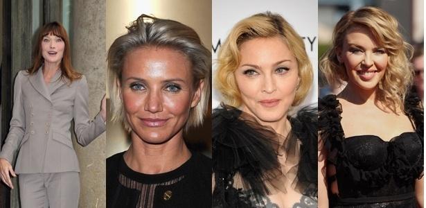 Algumas das celebridades que tiveram suas feições mudadas, aparentemente depois de intervenções estéticas: Carla Bruni, Cameron Diaz, Madonna e Kylie Minogue