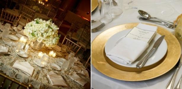 Detalhes metálicos contrastam com o branco e deixam o casório com tom de celebração