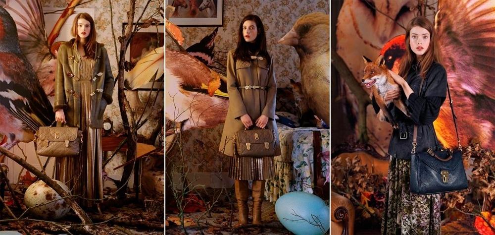 Junho 2011: A campanha de Inverno 2011 da Mulberry foi fotografada por Tim Walker, estrelando as modelos Julia Saner e Tatiana Cotliar dentro de uma casa-ninho, com pássaros e ovos gigantes