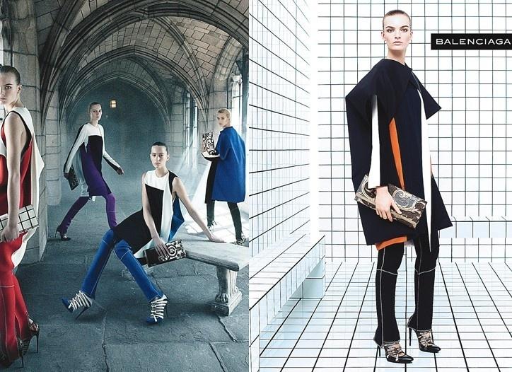Julho 2011: Modelos como Julia Nobis e Liisa Winkler posam para Steven Meisel na nova campanha da Balenciaga. O styling foi por conta de Marie Amélie Sauvé