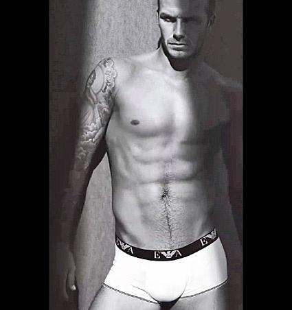 David Beckham em campanha para linha de cuecas da Armani
