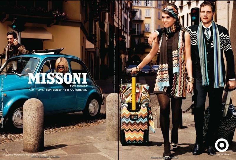 Agosto 2011: A coleção da grife Missoni para a rede norte-americana de varejo Target lança campanha de Inverno 2011 com a neta dos fundadores da marca Margherita Missoni