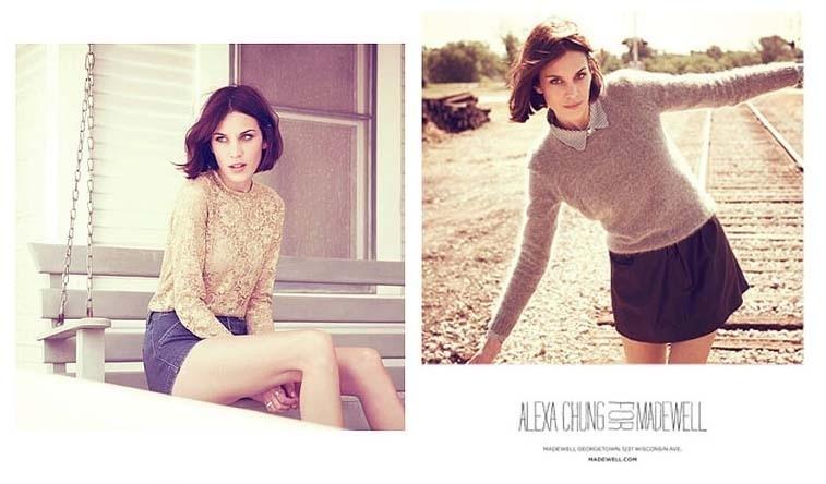 Agosto 2011: A it-girl Alexa Chung estrela a campanha de Inverno 2012 da sua segunda coleção em parceria com a marca Madewell. A inglesa foi o rosto de campanhas de marcas como Superga, Pepe Jeans e Lacoste