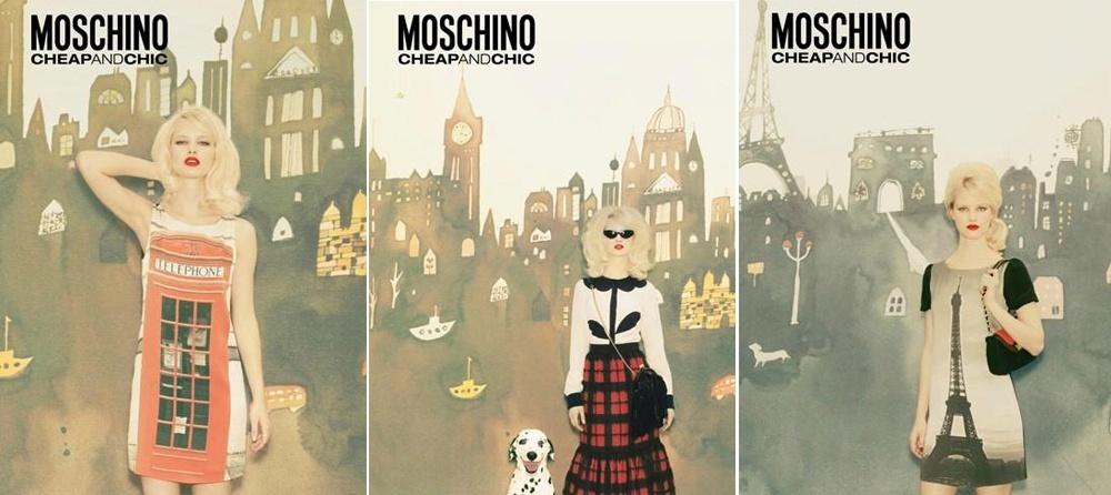 Setembro 2011: A campanha de Inverno 2011 da Moschino Cheap & Chic conta com a modelo Hannah Holman posando sobre painéis temáticos representando as principais cidades do mundo