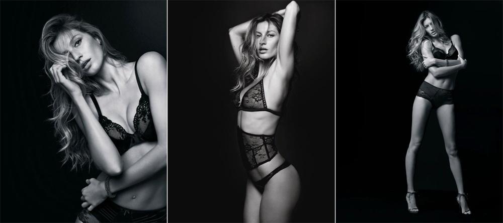 Setembro 2011: A übbermodel Gisele Bündchen posa também para o fotógrafo Bob Wolferson na campanha de Verão 2012 de sua linha de lingerie chamada