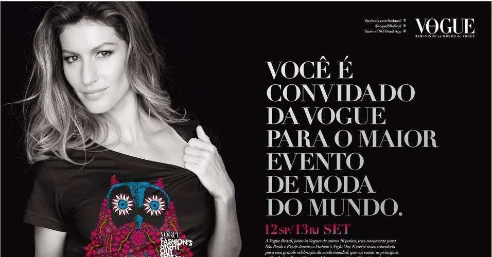 Setembro 2011: Gisele Bündchen é a embaixadora da edição brasileira do Fashion's Night Out 2011 e posa para a campanha do evento com camiseta criada pela Hering. A renda das vendas será revertida em prol do Instituto Brasileiro de Controle do Câncer