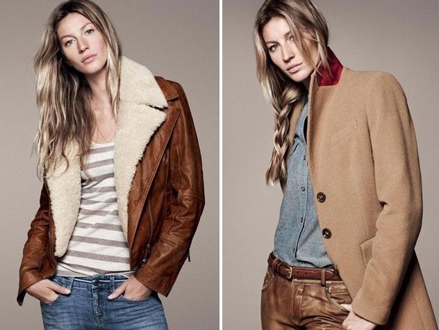 Setembro 2011: Gisele Bündchen posa para a campanha de Inverno 2011 da marca norte-americana Esprit. As fotos foram feitas por David Sims com styling de Camille Bidault Waddington