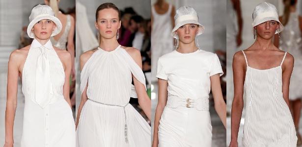 Os looks de Ralph Lauren apresentados em Nova York reforçam a tendência da produção toda em branco
