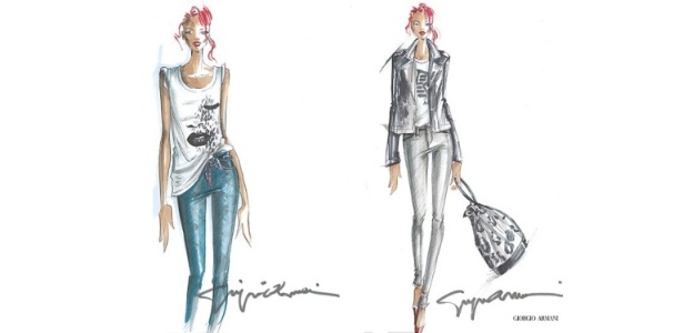 Croquis da coleo-cpsula da Rihanna para a Armani