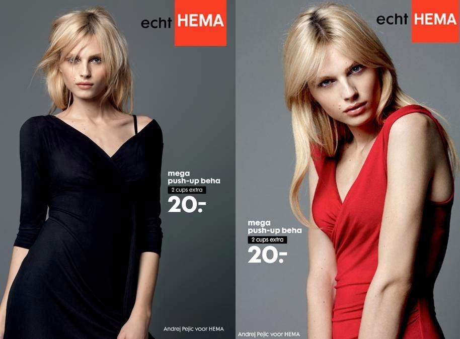 Dezembro: O modelo andrógino Andrej Pejic estrela campanha de sutiãs com enchimentos, tipo