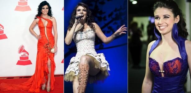 A cantora Paula Fernandes e alguns dos looks usados em 2011