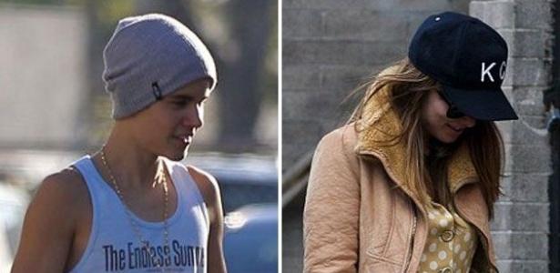 O cantor Justin Bieber e a atriz Olivia Wilde de férias desfilam fora do tapete vermelho