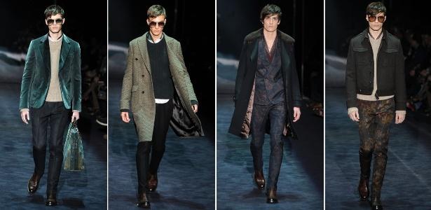 Looks do desfile de Inverno 2012 da Gucci, da estilista Frida Giannini, apresentados na semana de moda masculina de Milão (16/1/2012)