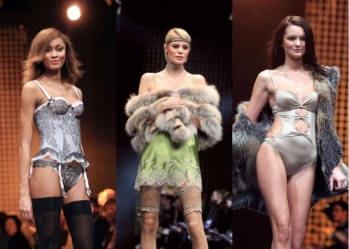 Modelos desfilam no Salão da Lingerie em Londres, no Reino Unido (21.01.2012)