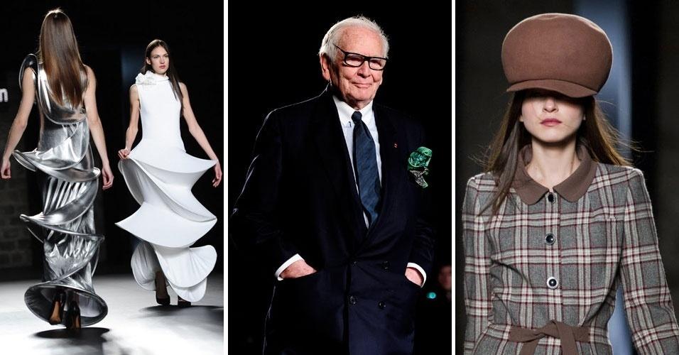 O estilista franco-italiano Pierre Cardin (centro), que completa 90 anos em 2012, agradece os aplausos da plateia, fechando a 080 Barcelona Fashion; em destaque, duas de suas criações apresentadas no evento (26/01/2012)