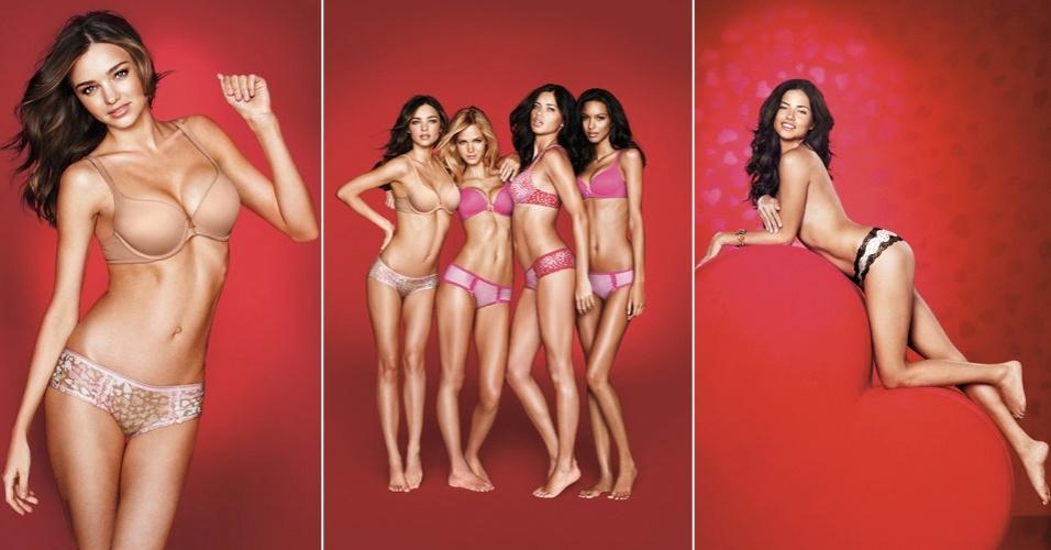 Adriana Lima, Miranda Kerr, Erin Heatherton e Laís Ribeiro posam de lingerie para a linha feita para o Valentine's Day (dia dos namorados comemorado em 14/02 nos E.U.A) da marca norte-americana Victoria's Secret