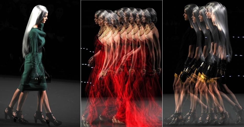 Fotógrafo cria imagens incomuns durante o desfile da estilista Maria Barros, na Semana de Moda de Madri, Espanha. O recurso utilizado em cada uma das foto é a múltipla exposição (04/02/2012)