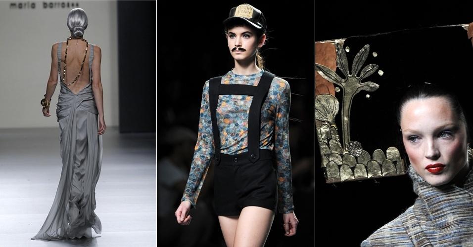 Modelos desfilam criações dos estilistas María Barros (à dir), Carlos Diez e Jesus Lorenzo (à esq.) durante a temporada de inverno da Semana de Moda de Madri, Espanha (04/02/2012)