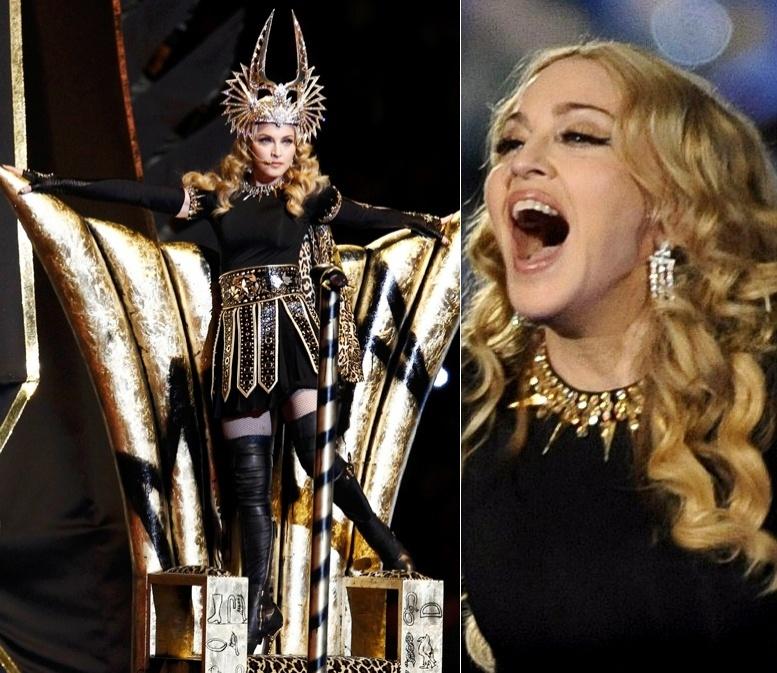 A cantora Madonna escalou o estilista Riccardo Tisci, da Givenchy, para criar o figurino de sua apresentação no intervalo do Super Bowl. O look teve companhia de brincos de ouro Bvlgari e coroa Philip Treacy (05/02/2012)