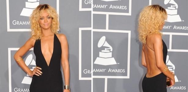 Rihanna usa vestido com decote na frente e nas costas que criou junto à Armani para ir ao Grammy Awards (12/02/2012)