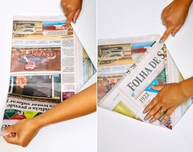 Passo a passo - saco de lixo feito com jornal