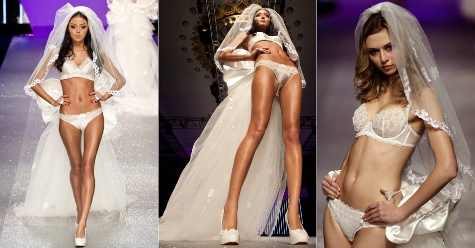 Modelos participam do desfile de lingerie Eve's Temptation durante a semana de moda da China, em Pequim (30/03/2012)