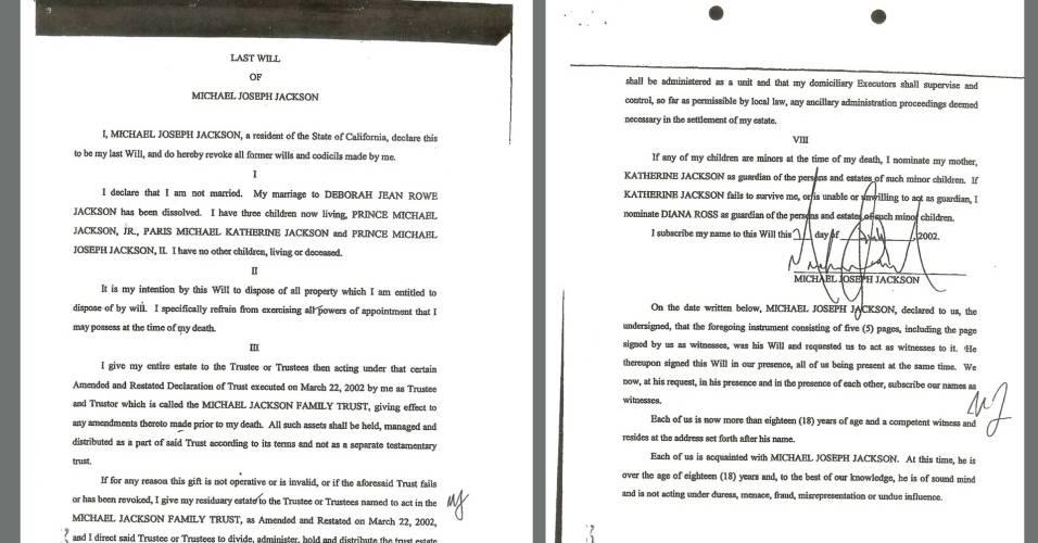 Duas páginas do testamento de Michael Jackson registrado em tribunal da Califórnia no dia 1º/07/2009