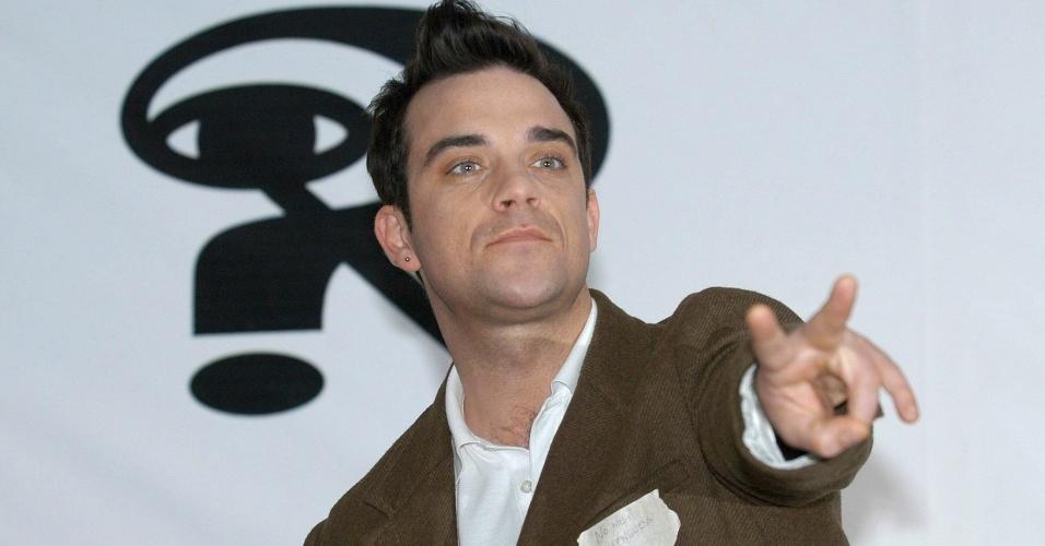 Robbie Williams durante uma entrevista na Cidade do México (18/11/2005)