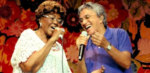Dona Ivone Lara e Caetano Veloso na gravação do primeiro DVD da sambista, no Rio de Janeiro (11/08/2009)