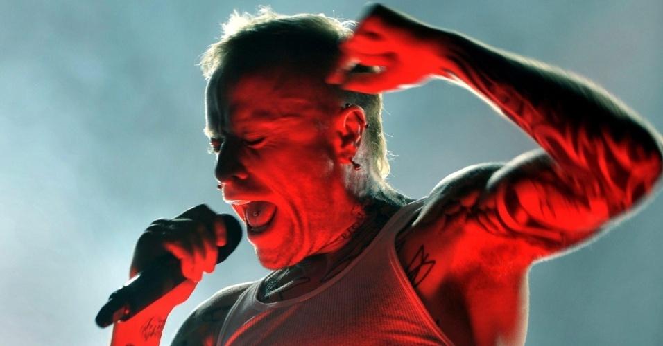Keith Flint, vocalista do Prodigy, durante show no Festival de Sziget em Budapest (14/08/09)
