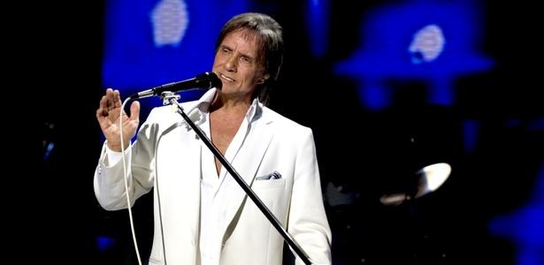 O cantor Roberto Carlos durante apresenta��o