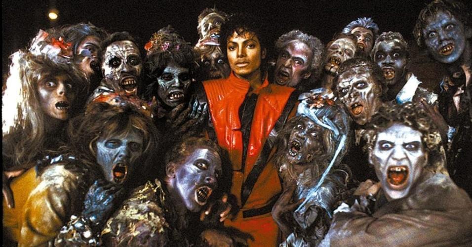 O cantor Michael Jackson, de vermelho, em arte do clipe de