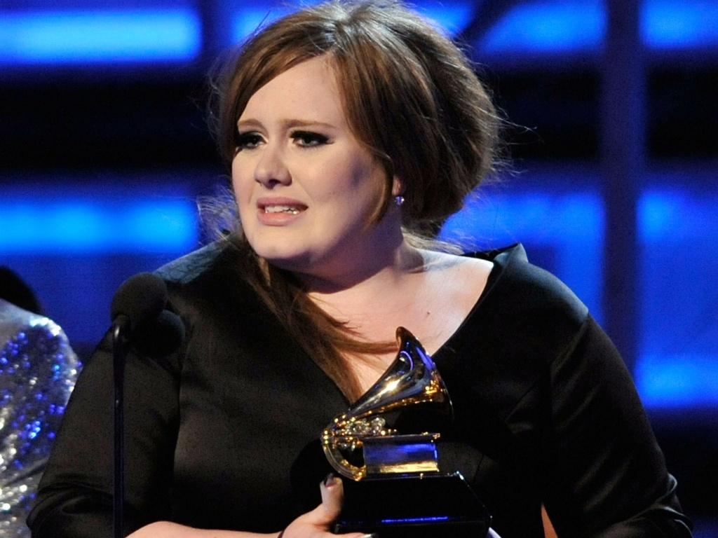 A cantora Adele durante premiação do Grammy 2009 no Staples Center, em Los Angeles (08/02/2009)