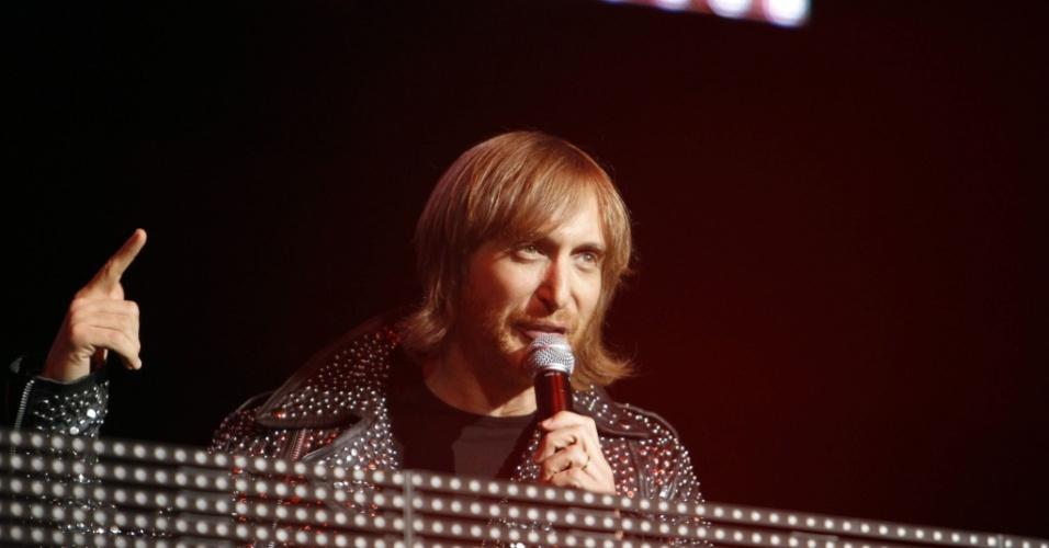 O DJ francês David Guetta durante apresentação em Los Angeles (16/05/2010)