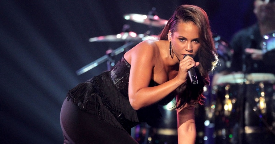 A cantora Alicia Keys durante show no auditrio Shrine, no BET Awards 2010, em Los Angeles (27/06/2010)