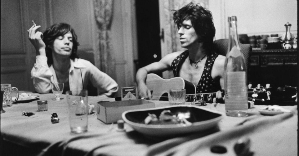Mick Jagger e Keith Richards, do Rolling Stones, na época da gravação de