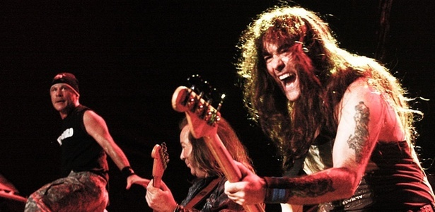 Bruce Dickinson, Dave Murray e Steve Harris em show do Iron Maiden em S&#227;o Paulo (26/03/2011)