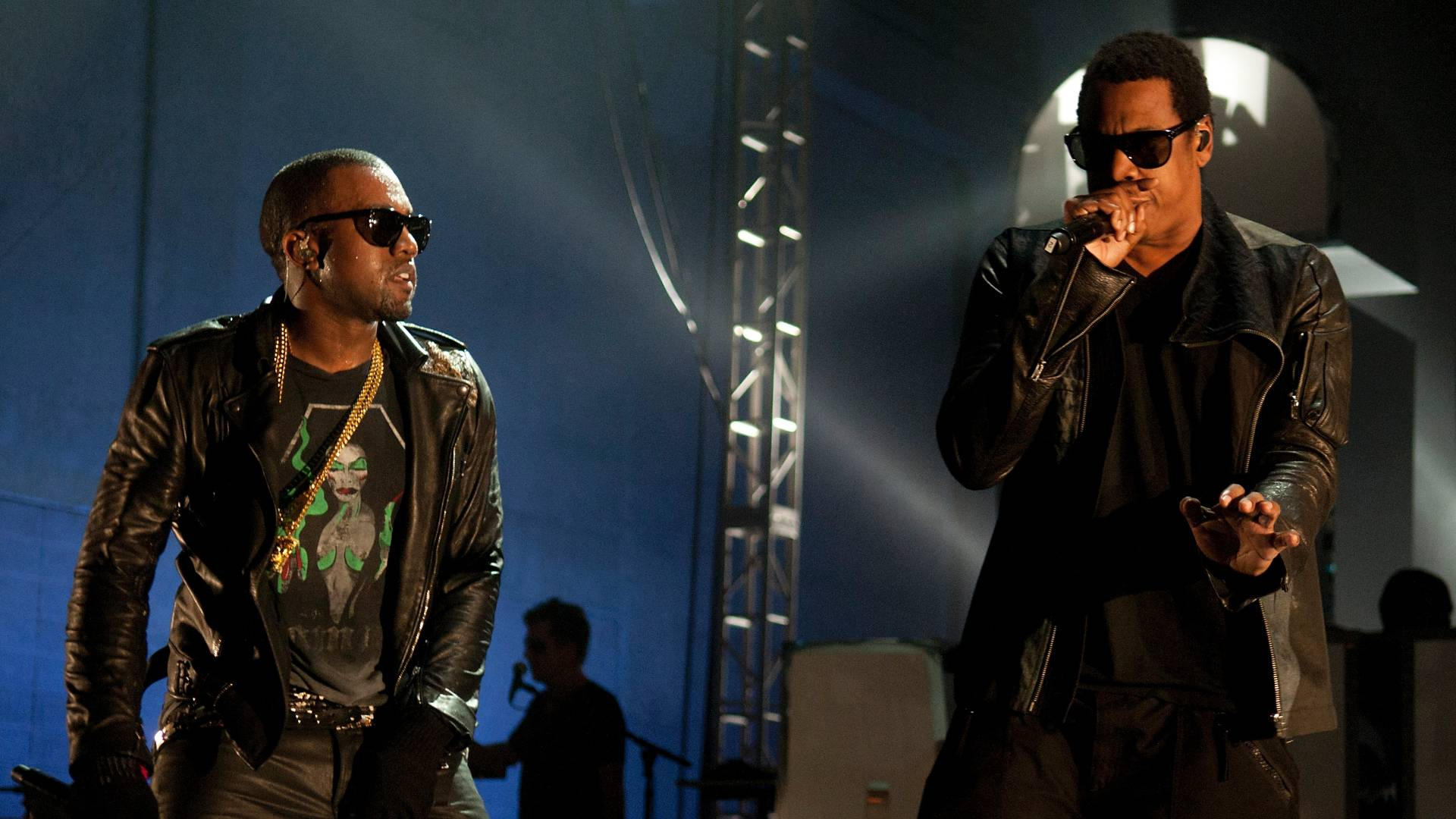 Os rappers Kanye West e Jay-Z durante apresentao em Austin, no Texas (19/03/2011)